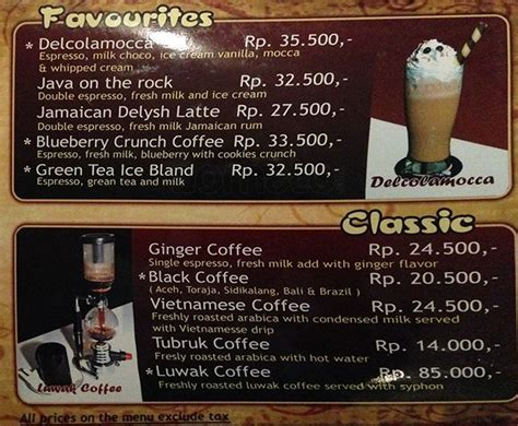 Menu Coffee Toffee Klis Surabaya delysh coffee shop menu menu for delysh coffee shop beji