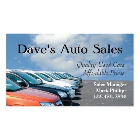 Business Cards Car Sales Template by Used Car Salesman Sided Standard Business Cards