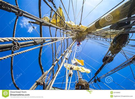 String Ship - rope wires and strings on a pirate ship stock photo