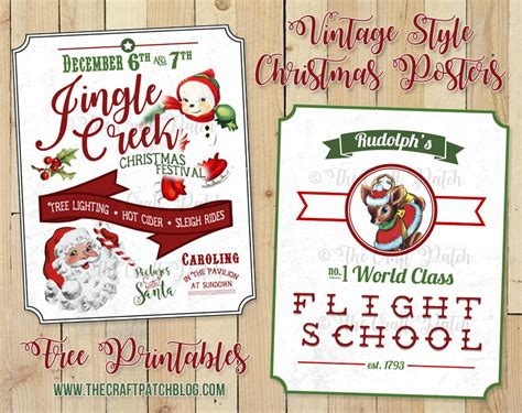 printable xmas posters the craft patch free printable vintage style christmas