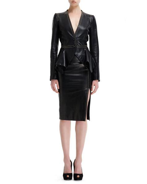 mcqueen mini stud detail high waist leather