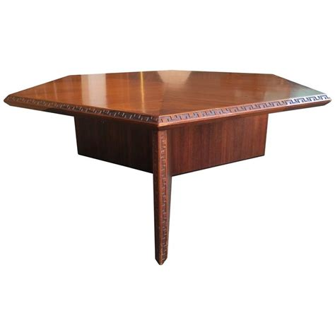 frank lloyd wright table l mid century modern coffee table with greek key detail by