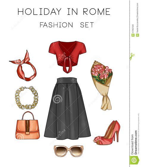 fashion illustration accessories clothes and accessories vintage icons vector cartoondealer 37974433