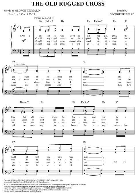 rugged cross tab the rugged cross sheet for piano and more onlinesheetmusic