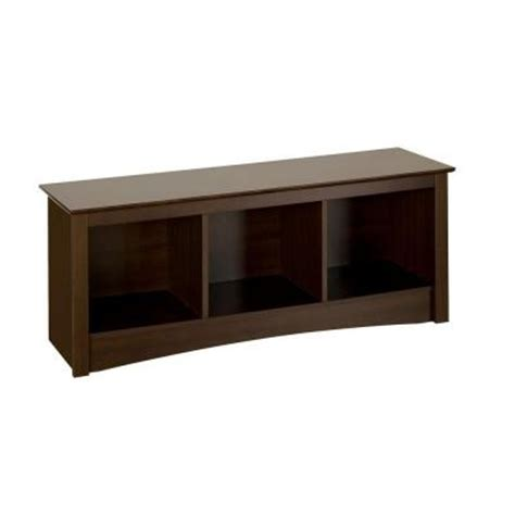 home depot benches prepac fremont cubbie storage bench in espresso esc 4820