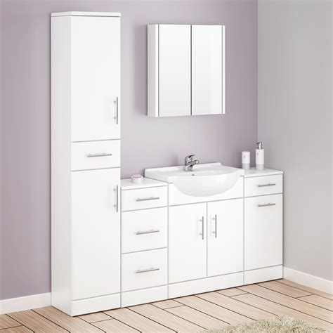 alaska bathroom furniture pack 5 piece white gloss at