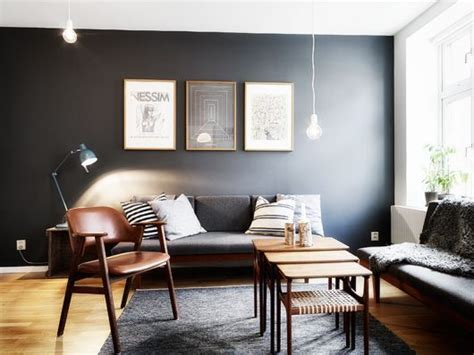 living room feature wall colours living room charcoal gray accent feature wall light bulb pendant cococozy planete deco dot fr
