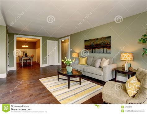 yellow themed living room lovely living room with green and yellow theme stock photo image 57589011