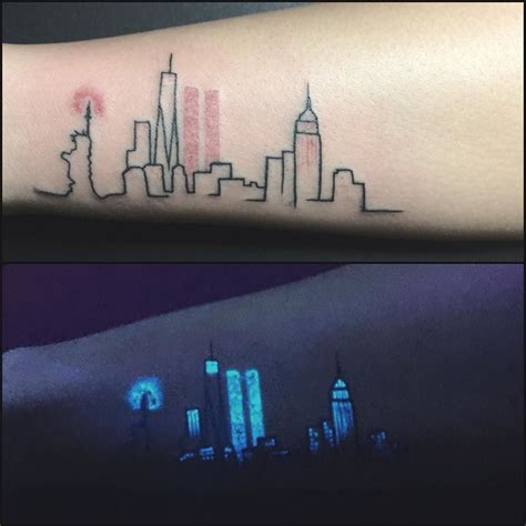new york skyline tattoo day light uv light awesome idea for of new york