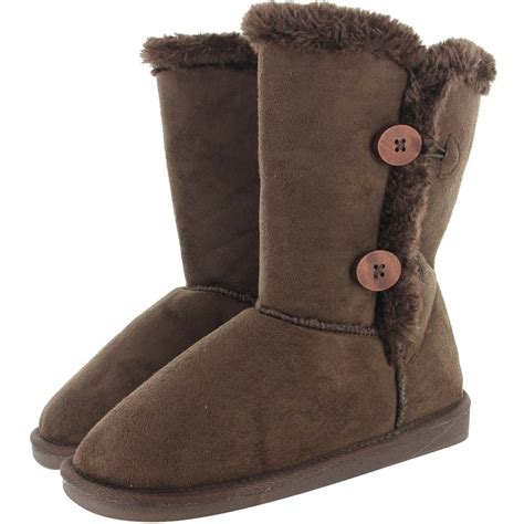 new womens faux fur boots suede mid calf fashion winter warm sheepskin shoes ebay