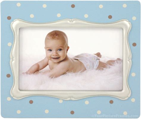 baby gestell blue polka dot baby picture frame