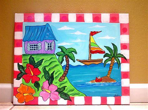 painting ideas for kids tropical beach ocean sea painting kids wall art canvas
