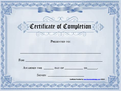 completion certificate template completion certificate template 25 free word pdf psd