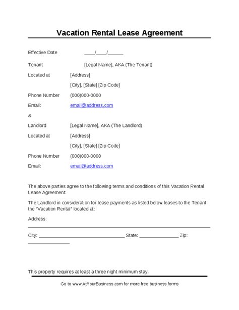 Rental Agreement Letter For Family Member Vacation Rental Lease Agreement Hashdoc