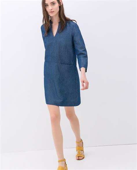 Dress Denim Zara zara denim shirt dress in blue lyst