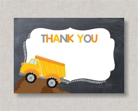 Dump Truck Thank You Cards