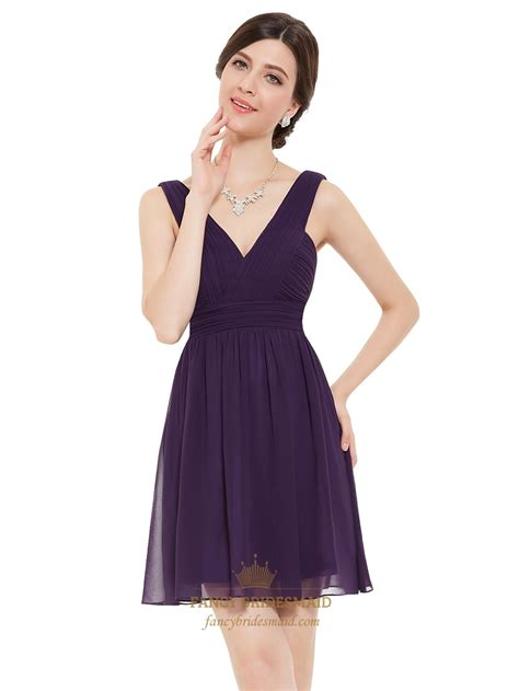 Bj Side Line Dress Purple purple chiffon v neck a line bridesmaid