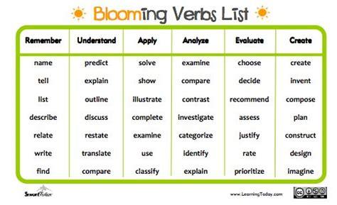 verb of layout new bloom s taxonomy verbs list classroom pinterest