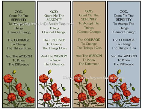 printable poppy bookmark printable bookmarks poppies and serenity prayer original