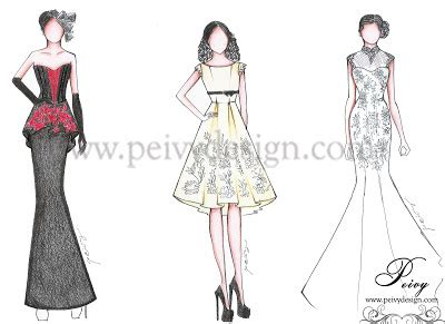 sketch design gaun pre wedding dress part 1 by peivy design peivy design