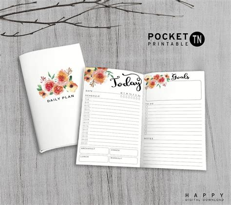 printable pocket planner printable daily planner pocket size daily planner printable