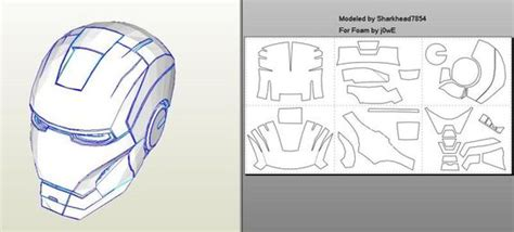 Iron Helmet Papercraft Pdf - robo3687 iron 4 6 pepakura foam templates easy