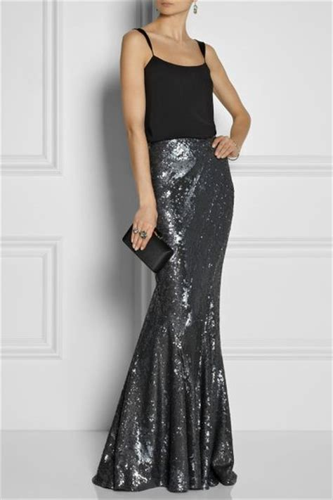donna karan new york sequined stretch jersey maxi skirt in