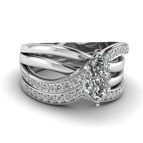14k white gold marquise shaped wedding sets engagement