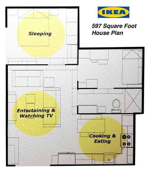 Ikea Floor Plans | ikea s 597 square foot house plan 2 bedrooms kitchen and