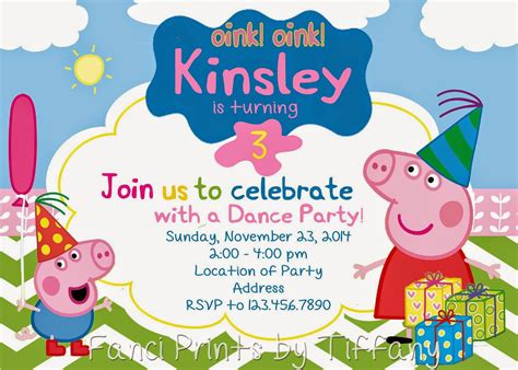 peppa pig invitation card template fanci prints by birthday invitations