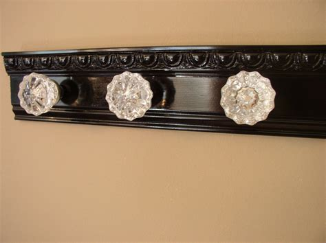 Decorative Picture Hanger Knobs by Beautiful Coat Rack With 3 Glass Door Knobs And Decorative