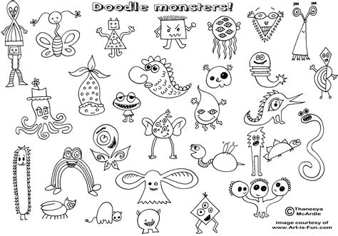 how to draw doodle monsters doodles coloring page gif 1 752 215 1 225 pixels