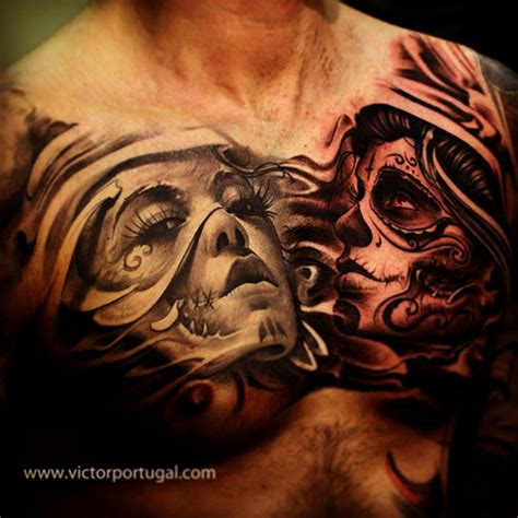 dia delos muertos tattoos chest tattoos and designs page 510