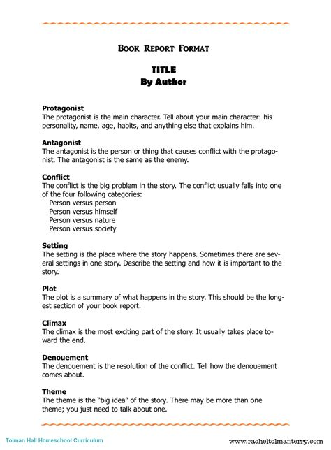 Book Report Mla Format the book pound book report format