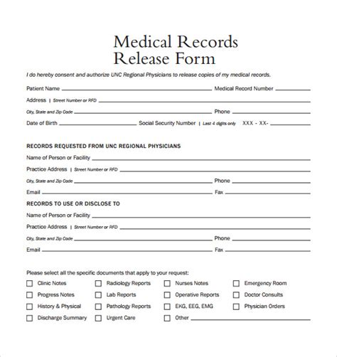 release for records form sle records release form 9 free
