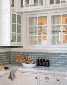 Blue Backsplash Kitchen Blue Glass Tile Transitional Kitchen Artistic