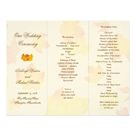 tri fold wedding program template falling leaves tri fold wedding program template