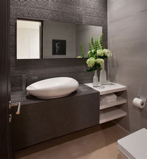 Contemporary Powder Room Small Vanity Mirror Design | bathroom modern powder room vanities design ideas with