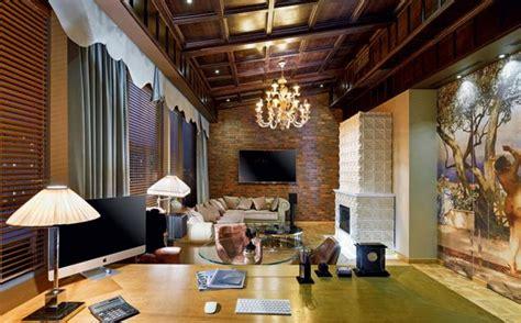 Exposed Brick modern office design blending elegant style and homey feel