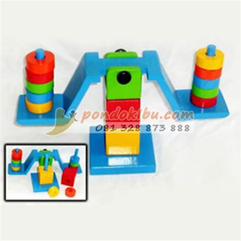 Timbangan Anak timbangan kayu mainan edukatif untuk anak pondok ibu