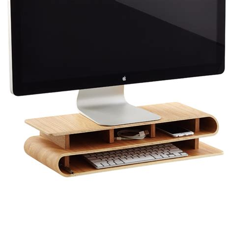 Desk Top Accessories Three By Three Ashwood Up Rise Desktop Organizer The Container Store