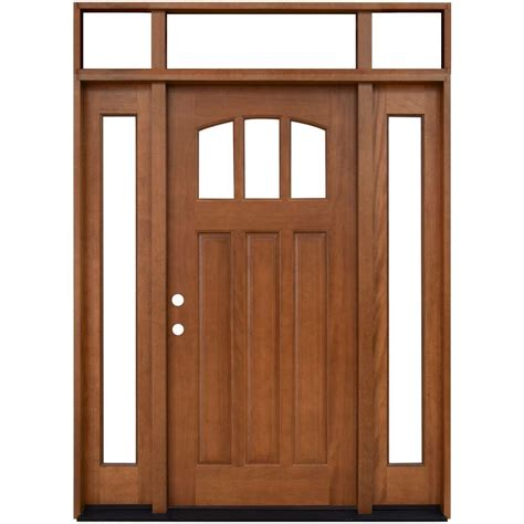 Door Lites Exterior Doors Steves Sons 64 In X 80 In Craftsman 3 Lite Arch Stained Mahogany Wood Prehung Front Door