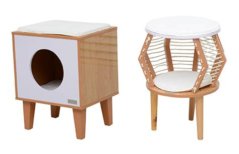 new mid century modern style cat furniture from pawhut