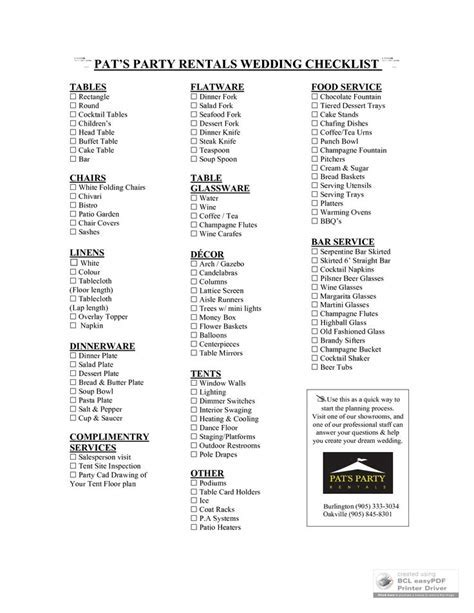 Wedding Reception Supplies Checklist   PAT'S PARTY RENTALS