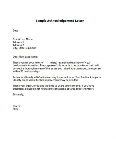 41 acknowledgement letter exles sles