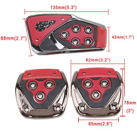 Pedal Pad Manual Ysa Racing 2 3x black manual racing car brake gas clutch pedal pads