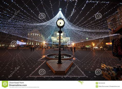 downtown clock at christmas time timisoara editorial
