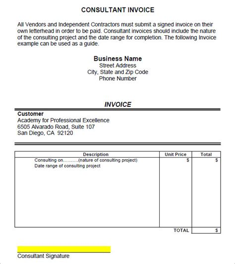 consulting invoice sle 8 exle format