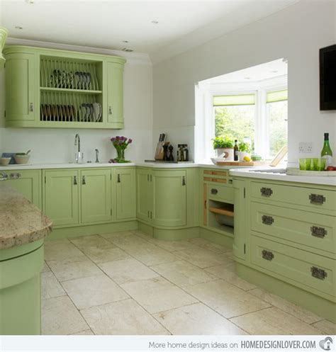 Green Kitchen Island by 16 Nicely Painted Kitchen Cabinets Home Design Lover
