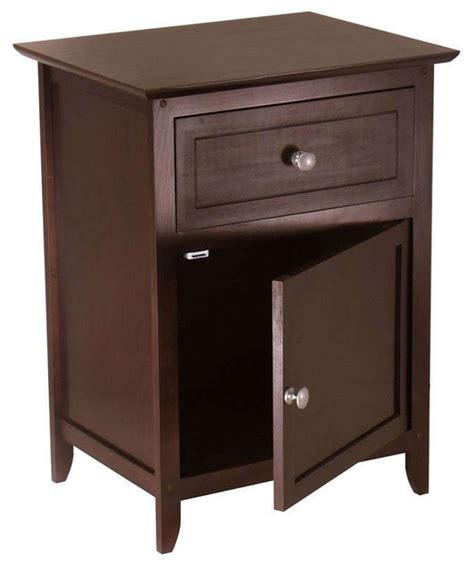 accent tables and chests antique walnut wood finish 1 drawer bedroom nightstand end